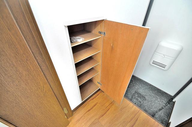 大宝小阪ヴィラデステ 玄関には大容量のシューズボックスがありますよ。