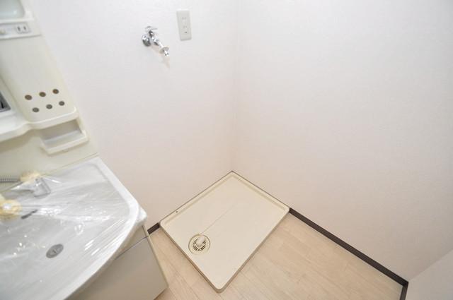豊都ビル 室内洗濯機置場だと終了音が聞こえて干し忘れを防げますね。