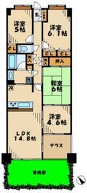 グランステイツ新百合ヶ丘サウスステージ2階Fの間取り画像