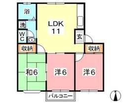 ファミーユ平野 B2階Fの間取り画像