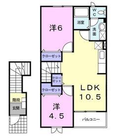 ラベンダー・K2階Fの間取り画像