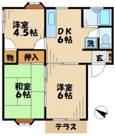 プリオールタカムラ1階Fの間取り画像