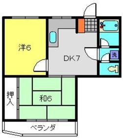 パークハイツ山田Ⅱ2階Fの間取り画像