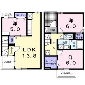 二宮駅 バス7分「おおいそ学園」徒歩4分1階Fの間取り画像