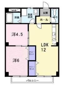 パルネット高梨Ⅱ2階Fの間取り画像
