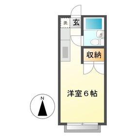 コーポリカ11階Fの間取り画像