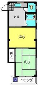 コーポ富士3階Fの間取り画像