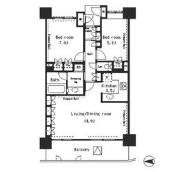 パークアクシス四谷ステージ9階Fの間取り画像