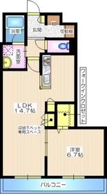 プランドール鎌倉ウエスト3階Fの間取り画像