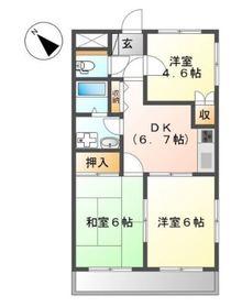 ロジュマンⅡ1階Fの間取り画像