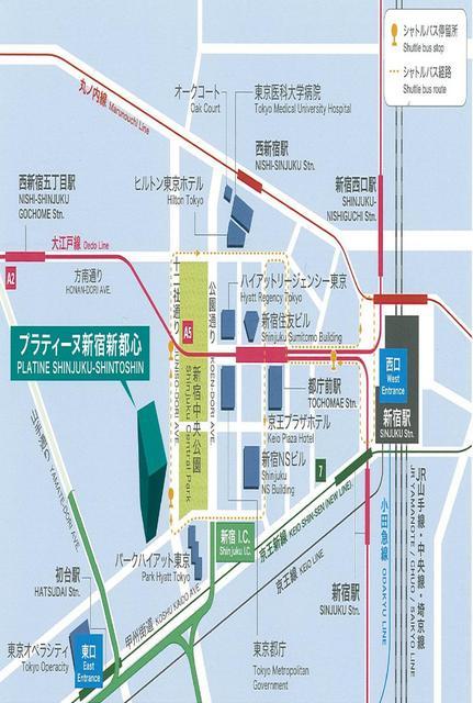 プラティーヌ新宿新都心案内図