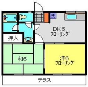 パステルハイムB棟1階Fの間取り画像