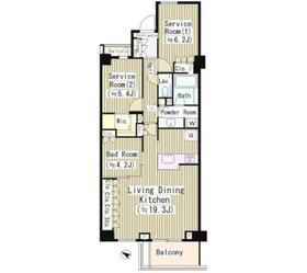 オープンレジデンシア高輪プレイス A棟5階Fの間取り画像