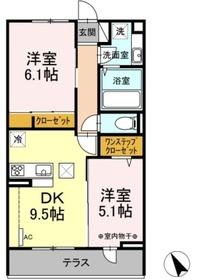 仮称 D-room堀西2階Fの間取り画像