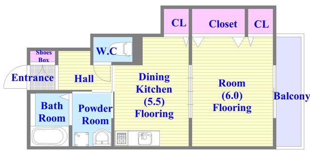 ソレジオ武村V S バス・トイレがセパレート、各所に収納がある使いやすい間取り。