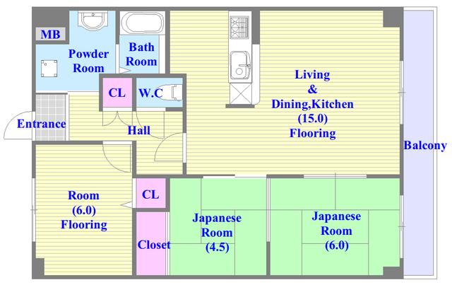 グランドール杉の木 和室があり、とにかく広いファミリータイプな間取です。