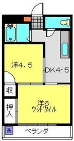 コーポオリオン2階Fの間取り画像