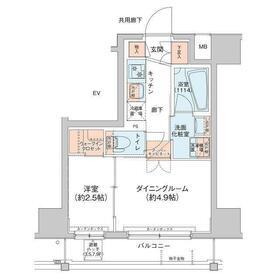 アジールコート新高円寺5階Fの間取り画像