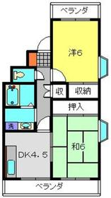上大岡グリーンハイツB棟2階Fの間取り画像