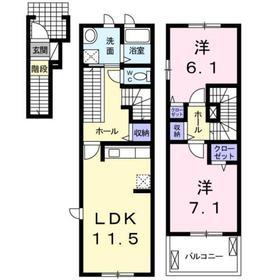 プロシード アンジュ2階Fの間取り画像