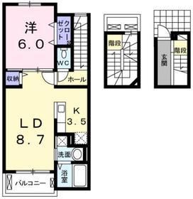 小作駅 徒歩20分3階Fの間取り画像