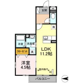 ドミール社家Ⅱ3階Fの間取り画像