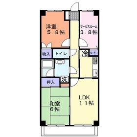 DUO FUJIMINO(デュオフジミノ)3階Fの間取り画像