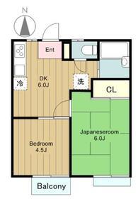 アガワハイツⅡ2階Fの間取り画像