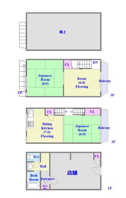 太平寺2丁目 連棟住宅 店舗付きで屋上もある間取りです。