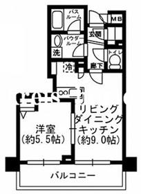 レジディア神田東6階Fの間取り画像