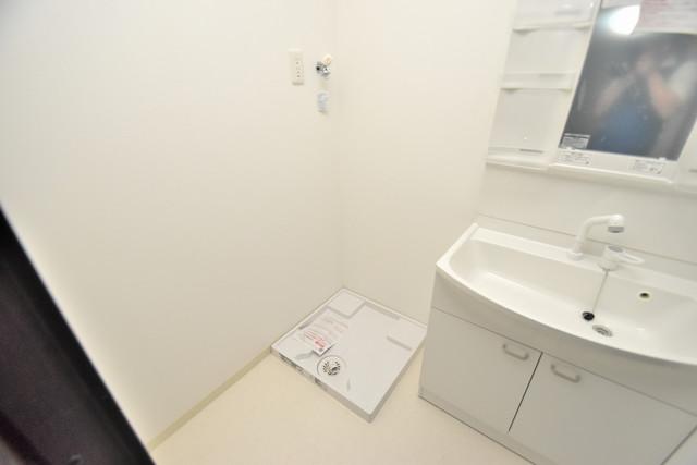 グランパシフィック長瀬スクエア 嬉しい室内洗濯機置場。これで洗濯機も長持ちしますね。