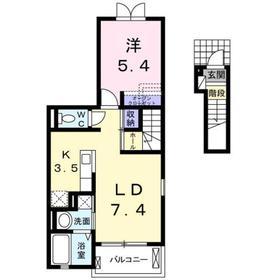 グローヴヒルズ芝Ⅱ2階Fの間取り画像