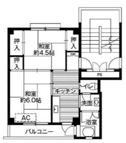 ビレッジハウス早島2号棟4階Fの間取り画像