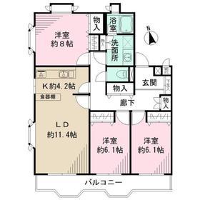 代田リハイム2階Fの間取り画像