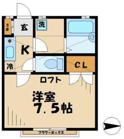シャトル2階Fの間取り画像