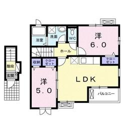 レジデンスガーデンⅡ2階Fの間取り画像