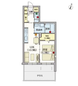 ヘーベルVillage湘南台1階Fの間取り画像