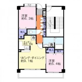 エーコー・カミキI2階Fの間取り画像