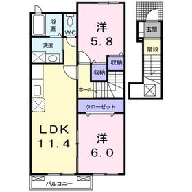 メゾン・ソレイユ A2階Fの間取り画像