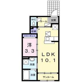 エフズハイド1階Fの間取り画像