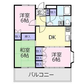サンライズ鶴瀬2階Fの間取り画像