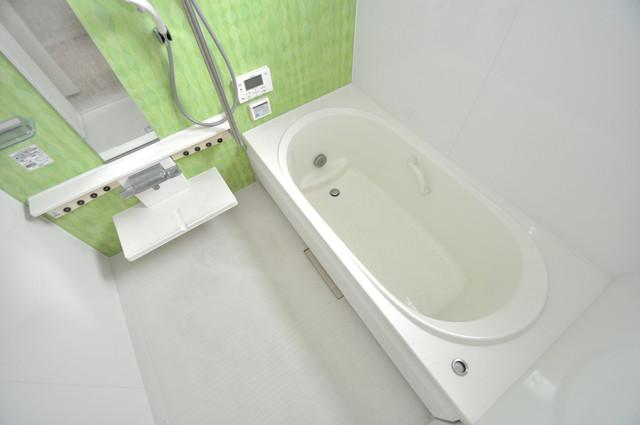 シャーメゾンアマヤハイツ 足を伸ばして、ゆっくりできる大きなバスルームですよ。