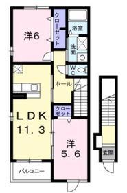 本厚木駅 バス13分「中戸田」徒歩6分2階Fの間取り画像