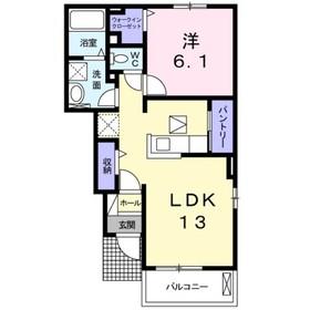 エスポワール鎌倉Ⅱ1階Fの間取り画像