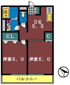 メゾンダジュール7番館2階Fの間取り画像