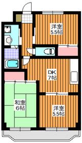 三高・橘ハイツ5階Fの間取り画像
