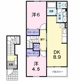 グリュプレーヌⅡ2階Fの間取り画像