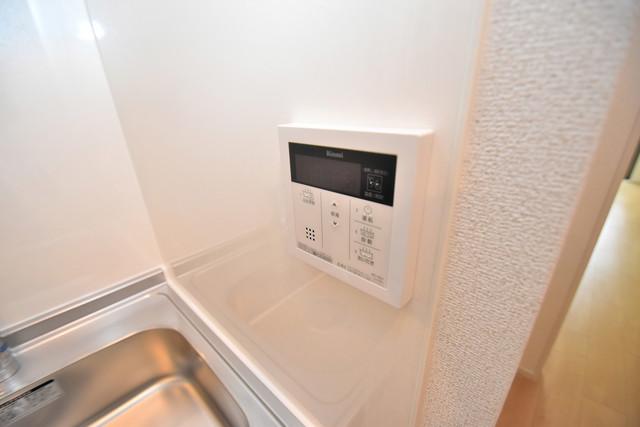 リジエールⅡ 給湯リモコン付。温度調整は指1本、いつでもお好みの温度です。