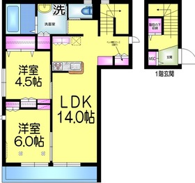 メゾンヒルE2階Fの間取り画像