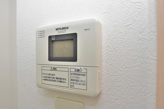 カインド高井田 給湯リモコン付。温度調整は指1本、いつでもお好みの温度です。
